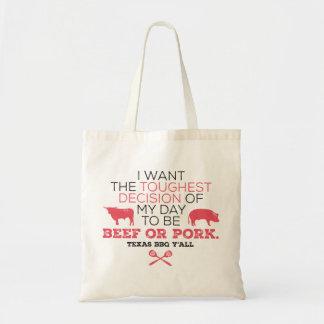 Beef or Pork? Texas BBQ Tote Budget Tote Bag