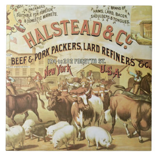 Beef & Pork Packers, c.1880 (colour litho) Tile