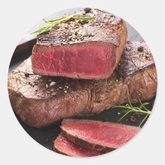 Beef steak round sticker