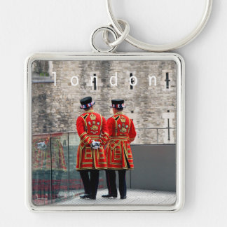 Beefeaters, London Silver-Colored Square Key Ring