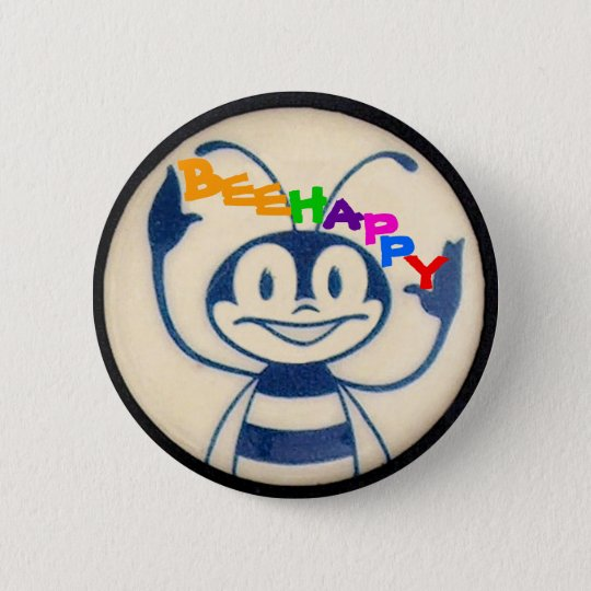 BEEHAPPY 6 CM ROUND BADGE