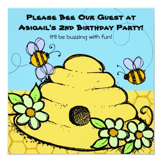 Beehive and Bees Customised Birthday Invitations
