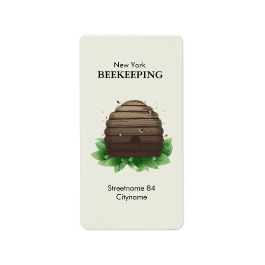 Beehive and bees on green leafs address label