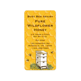 Beehive and Honeycomb Personalised Apiary Style 2 Address Label