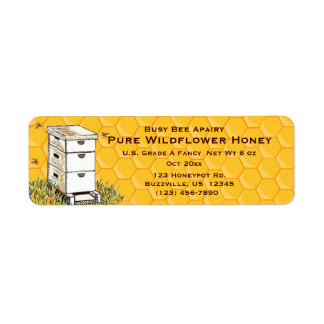 Beehive and Honeycomb Personalised Apiary Style 3 Return Address Label