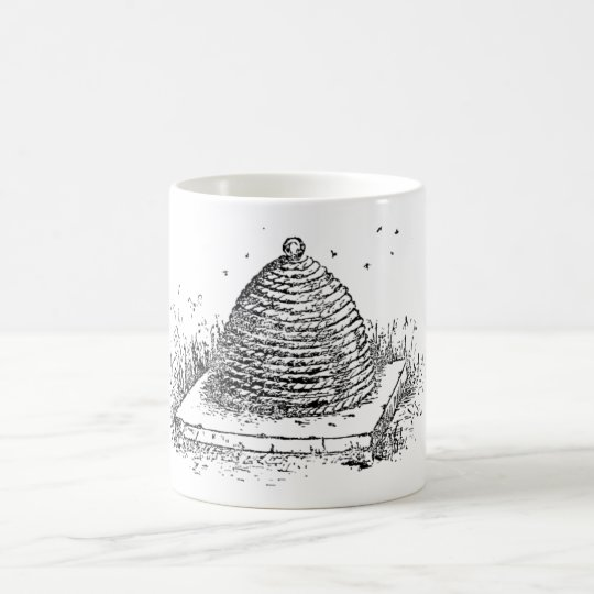 Beehive Black and White Vintage Drawing Coffee Mug