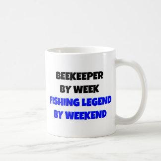 Beekeeper by Week Fishing Legend By Weekend Basic White Mug