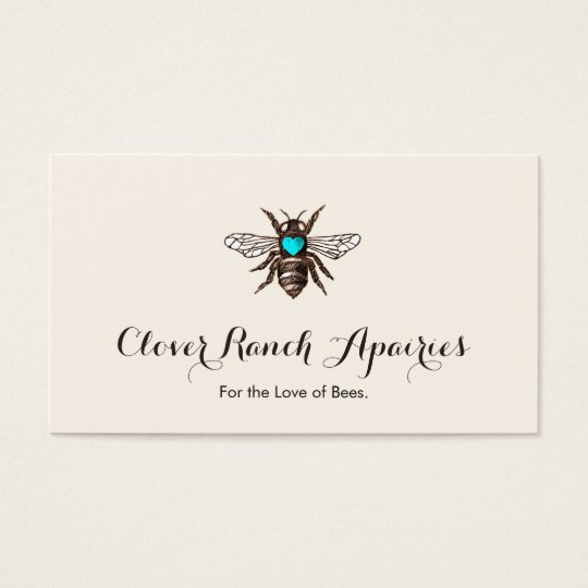 Beekeeping Bee with Blue Heart Apiary Business Card