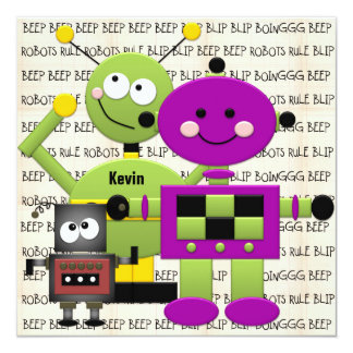 Beep Beep Robots Customized Birthday Invitation