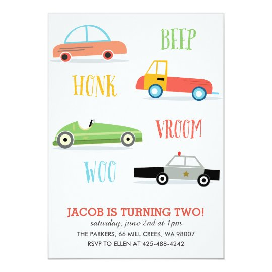 Beep Honk Woo Kid's birthday party Invitation