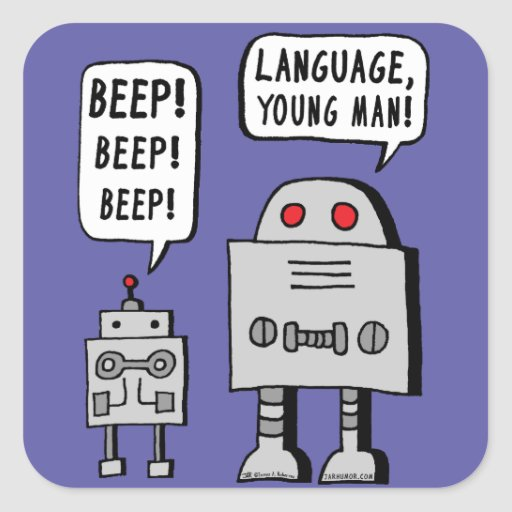 Beeping Robot Square Stickers