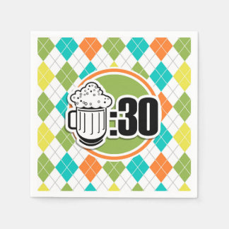 Beer:30 on Colorful Argyle Pattern Disposable Napkin