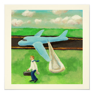 Beer, a Big Slide, and my Dignity - quitting plane 13 Cm X 13 Cm Square Invitation Card