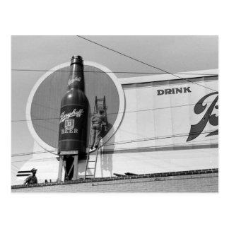 Beer Advertising Billboard, 1940 Postcard