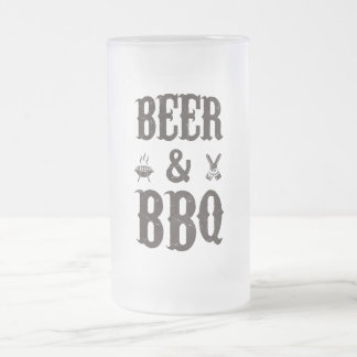 Beer and BBQ Frosted Glass Beer Mug