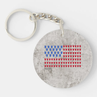 Beer and Cup Flag Single-Sided Round Acrylic Keychain