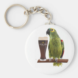 Beer and Parrot Basic Round Button Key Ring