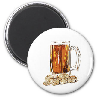 Beer and Peanuts 6 Cm Round Magnet