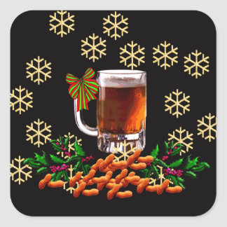 Beer and Peanuts Square Stickers