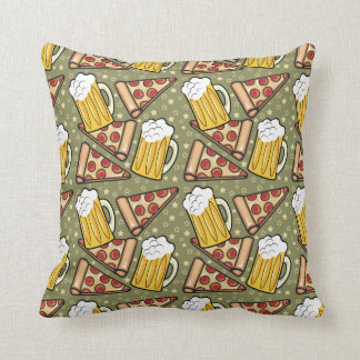 Beer and Pizza Graphic Pattern Cushion