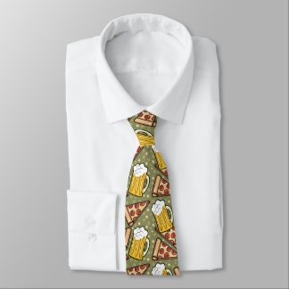 Beer and Pizza Pattern Tie