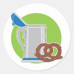 Beer and Pretzel Round Sticker