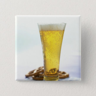 Beer and pretzels 15 cm square badge