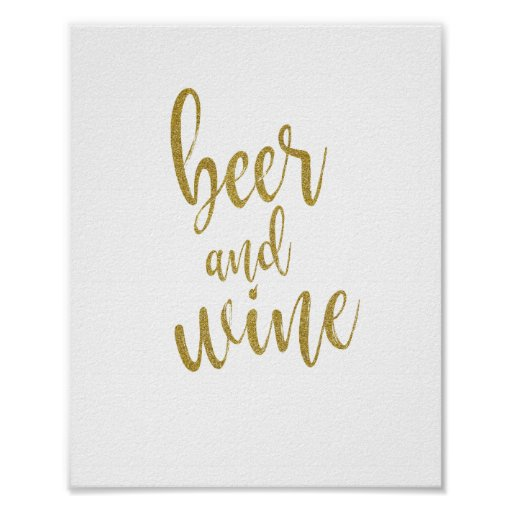 Beer and Wine Gold Glitter 8x10 Wedding Sign