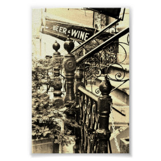 Beer and Wine Sepia poster