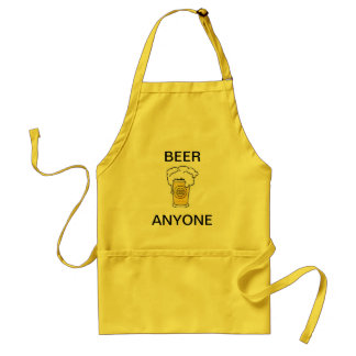 BEER ANYONE YELLOW CANVAS COOKING APRON