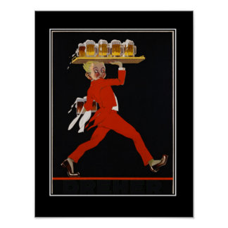 Beer Art Deco vintage poster Print