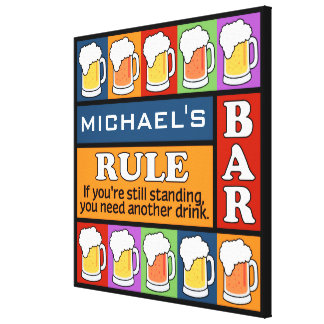 BEER Bar Pop Art CUSTOM NAME canvas print