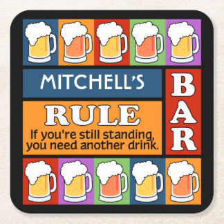 BEER Bar Pop Art custom name coasters