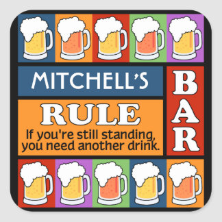 BEER Bar Pop Art CUSTOM NAME stickers