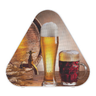 Beer barrel with beer glasses on a wooden table 2