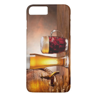 Beer barrel with beer glasses on a wooden table 2 iPhone 8 plus/7 plus case
