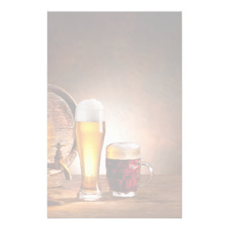 Beer barrel with beer glasses on a wooden table 2 stationery