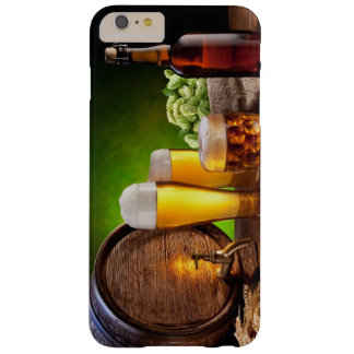 Beer barrel with beer glasses on a wooden table barely there iPhone 6 plus case
