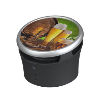 Beer barrel with beer glasses on a wooden table bluetooth speaker
