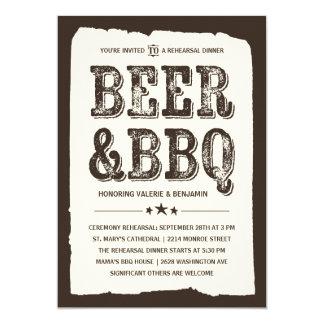 Beer & BBQ | Rustic Rehearsal Dinner 13 Cm X 18 Cm Invitation Card