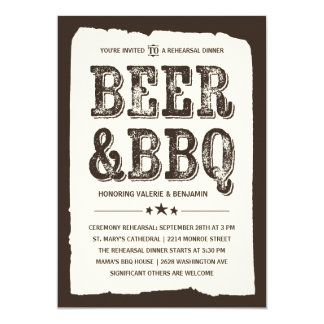 Beer & BBQ   Rustic Rehearsal Dinner Card