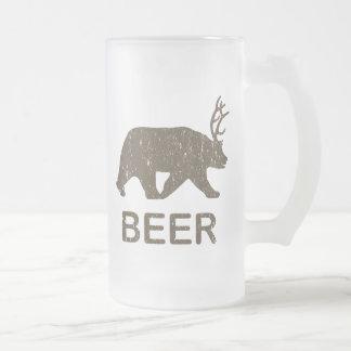 Beer Bear Deer Frosted Glass Mug