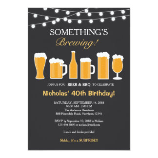 Beer Birthday Invitation, Adult Birthday Card