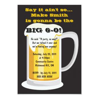 "Beer Birthday Party Invitation 5"" X 7"" Invitation Card"