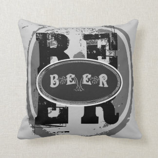 Beer-Black and White Oval 2 Cushion
