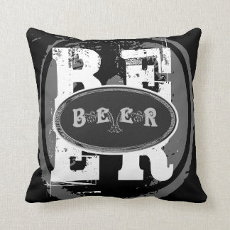Beer-Black and White Oval Cushion