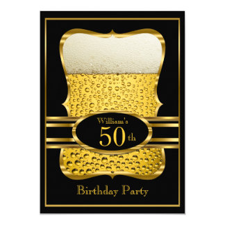 Beer Black Gold Birthday Party Invitation