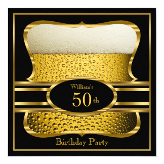 Beer Black Gold Birthday Party Invitation 2