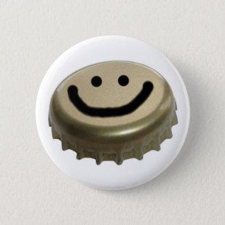 Beer Bottle Cap Smiley Face 6 Cm Round Badge