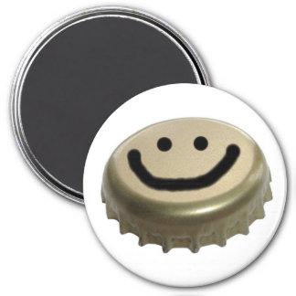 Beer Bottle Cap Smiley Face 7.5 Cm Round Magnet